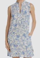 $798 Tory Burch Women's Blue White Animals Swimwear Linen Cover-Up Tunic Dress L