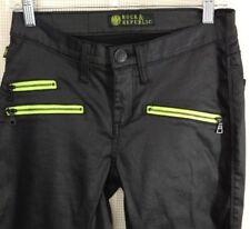 Rock & Republic Black Banshee Jeans Size 6 Stretch Green Zippers Club Moto