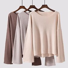 Women Pullover Knitted Loose Sweater Jumper Asymmetric Flare Sleeve Boat Neck