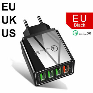 4 Port Fast Quick Charge QC3.0 USB Hub Wall Charger Power Adapter US UK EU Plug