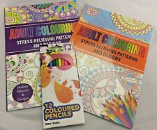 Adult Colouring Books Stress Relieving Patterns & Designs & Free Pencil Crayons