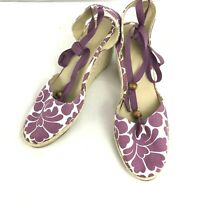 Boden 39 White Purple Floral Wedge Espadrilles Ankle Tie Shoe Bed US 8/8.5