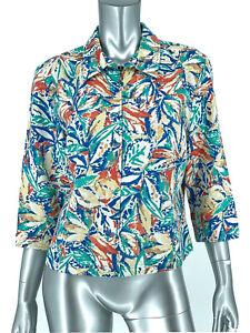 Coldwater Creek Petite Large Lightweight Jacket Multicolor Linen Blend Zip Up