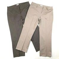Lot of 2 Gunex Womens 10 Cotton Mid Rise Flat Front Straight Leg Khaki Pants