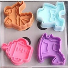 4pcs Cute 3D Baby Clothes Shower Hand Press Stamp  Cookie Plunger Cutter Molds