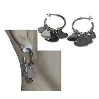 Boucles d'oreilles en argent massif 925 anneaux créoles breloques coeur bijou