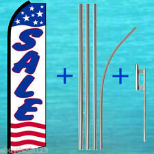 SALE White FLUTTER FEATHER FLAG + POLE MOUNT KIT Feather Swooper Banner Sign