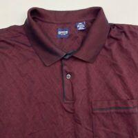 Arrow Golf Polo Shirt Men's Size 2XL XXL Short Sleeve Maroon Black Argyle Casual