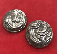 Vintage Sterling Silver Earrings 925 Round Taxco Mexico Clip On Detailed