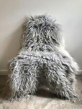 Genuine Icelandic Sheepskin Sheep Rug Silver Grey Real Long Slightly Curly Fur