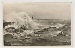 Cornwall postcard - Rough Sea, Penzance - (A1800)