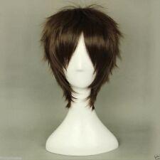 Peluca japonesa Short Straight Full Wig Dark Brown Eren Jaeger Anime