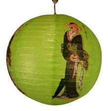 Japanese Geisha Design Round Paper Lantern (Green)