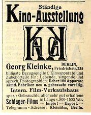 Georg Kleinke Berlin Ständige Kino-Ausstellung Film-Verkaufshaus Schlager...1912