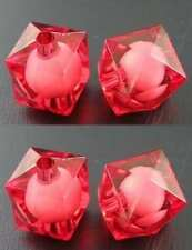 20 x RED Cube Bead Acrylic Faceted Beads - 12mm Square Cubes Chunky - CLEARANCE