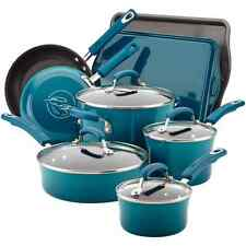 Rachel Ray Cookware Set Blue Nonstick Non Stick Rachael Porcelain Pots Lids NEW