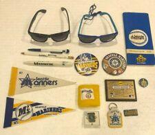 Vtg Seattle Mariners Baseball Lot Buttons Key Chains Sunglasses Pens Pennant +