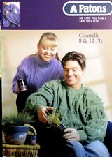 Patons COURTELLE 8 & 12 PLY FAMILY KNITS knitting pattern book NO. 1196
