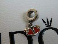 100% GENUINE PANDORA 14K & SILVER RETIRED RARE DOUBLE RED HEART CHARM - 790434