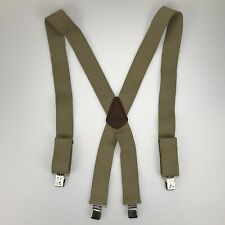 "Carhartt 2"" Clip On Tan Khaki with Leather Suspenders Adjustable Mens Work Pant"