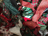 CHRISTMAS 130g COTTON FABRIC RAG WREATHS FESTIVE CRAFTS REMNANTS OFFCUTS STRIPS