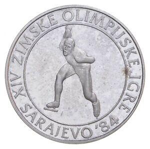 SILVER Roughly Size of Quarter 1984 Yugoslavia 100 Dinara World Silver Coin *013