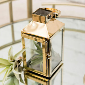 Candle Holder Lantern Gold Stainless Steel and Glass