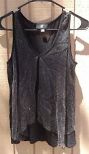 IZ BYER SPARKLY BLACK TANK TOP JUNIORS SIZE SMALL DRESSY CAREER