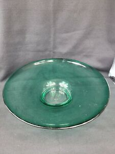 "Blenko Large Glass Centerpiece Bowl Teal Blue 15"" Dia 3 1/2"" T Hand-Blown Signed"