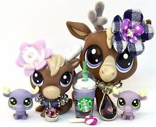 Littlest Pet Shop EXCLUSIVE Moose Family - Mommy Baby Twins Reindeer Elk Caribou