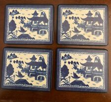 Mottahedeh blue canton square coasters set of 4 in box #76102 Made in England