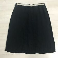 Flax 100% Linen Pull On A-Line Skirt Black w/ Beige Waistband Size Small READ