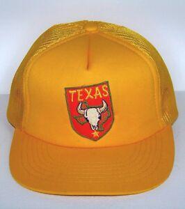 VINTAGE TEXAS SNAPBACK TRUCKER CAP HAT / YELLOW MESH ADJUSTABLE MADE IN KOREA