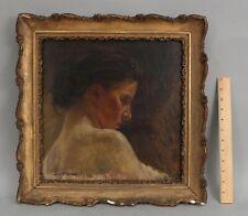 19thC Antique DORA L MURDOCH American Portrait Oil Painting of Woman Profile NR