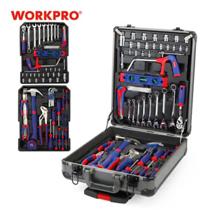 WORKPRO 111PC Tool Set Hand Tool Kit Aluminum Trolley Case Tool Box Set Repair K