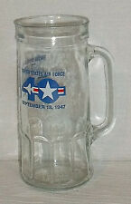 """USAF Beer Stein Mug Glass Cup 40th United States Air Force Vtg 7"""" By Fisher"""