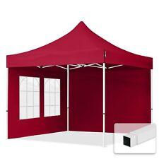 3x3 m Faltpavillon, ECONOMY Stahl 30mm, Seitenteile mit Rechteckfenstern, rot
