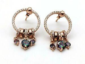 925 Sterling Silver Rainbow Topaz Women's Earrings Rose Gold