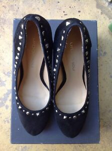 Urban Soul Size 38 Black Stiletto All Leather With Silver Studs