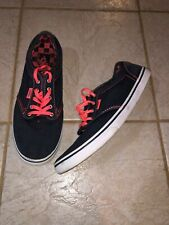 Vans Canvas Lace Up Pink Navy Blue Low Sneakers Tennis Shoes Mens 7 Womens 8.5