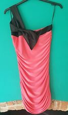Quiz Bodycon Dress, Size 14, Pink with Black Shoulder Strap & Bow Party Clubbing