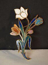 Beautiful Vintage Cloisonne Enamel Spring Flowers Tulips Bouquet Brooch Pin