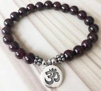 8mm garnet bracelet Reiki Spirituality Unisex 7.5inches Handmade Bead Healing