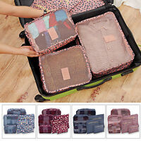 6PCS Travel Luggage Organizer Clothes Underwear Socks Packing Cube Storage Bag