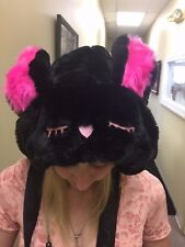 NEW! Betsey Johnson BUNNY RABBIT EARS BACKPACK HOODIE BLACK Furry School Bag,