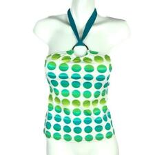LA Blanca Women 8 Tie Halter Tankini Swim Top Geometric Circles White Blue Green