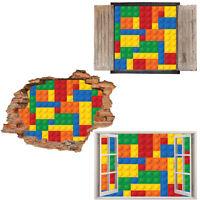 Window Wall Sticker Decal Vinyl 3D Lego blocks geometric Kids home art room deco