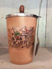 """Vintage Antique Sandland Jam Preserve Pot With EPNS Lid & Spoon 4.5"""" High"""