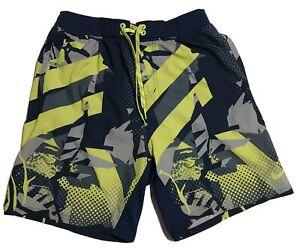 Nike Perry Ellis Board Shorts Men's Size Medium* M Blue Neon Yellow Abstract