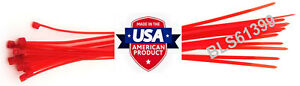 """200 USA Made TOUGH TIES 9"""" inch 40lb Nylon Tie Wraps Wire Cable Zip Ties Red"""